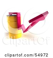 Royalty Free RF Clipart Illustration Of A 3d Pink Arrow Going Around A Yellow Oil Barrel Version 2