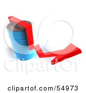 Royalty Free RF Clipart Illustration Of A 3d Red Arrow Going Around A Blue Oil Barrel Version 3