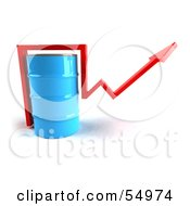 Royalty Free RF Clipart Illustration Of A 3d Red Arrow Going Around A Blue Oil Barrel Version 1 by Julos