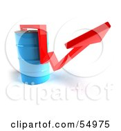 Royalty Free RF Clipart Illustration Of A 3d Red Arrow Going Around A Blue Oil Barrel Version 2