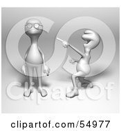 Royalty Free RF Clipart Illustration Of A 3d Human Like Creature Character Laughing And Teasing Another For Wearing Glasses