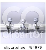Royalty Free RF Clipart Illustration Of 3d Human Like Creature Characters Using Laptops On Park Benches