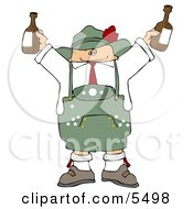 German Man Celebrating Oktoberfest With A Couple Of Beers Clipart Illustration by djart