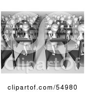 Royalty Free RF Clipart Illustration Of A Crowd Of 3d Human Like Creature Characters Running On Treadmills Version 1