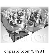 Royalty Free RF Clipart Illustration Of A Crowd Of 3d Human Like Creature Characters Running On Treadmills Version 2