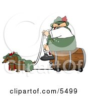 German Man Transporting A Wooden BarrelKeg Of Beer To A Party Clipart Illustration