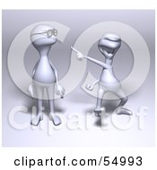 Royalty Free RF Clipart Illustration Of A 3d Human Like Creature Character Laughing And Making Fun Of Another For Wearing Glasses