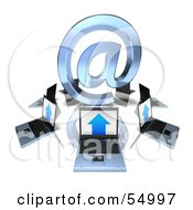 Royalty Free RF Clipart Illustration Of 3d Laptops Circling A Blue Arobase At Symbol by Julos
