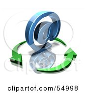 Royalty Free RF Clipart Illustration Of 3d Green Arrows Circling A Blue Arobase Symbol Version 2