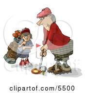 Father And Son Golfing Together Clipart Illustration by Dennis Cox