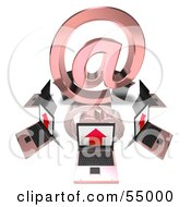Royalty Free RF Clipart Illustration Of 3d Laptops Circling A Red Arobase At Symbol