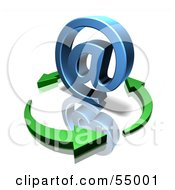 Royalty Free RF Clipart Illustration Of 3d Green Arrows Circling A Blue Arobase Symbol Version 1