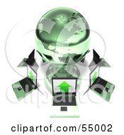 Royalty Free RF Clipart Illustration Of 3d Laptops Circling A Green Metal Globe