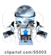 Royalty Free RF Clipart Illustration Of 3d Laptops Circling A Blue Chrome Globe