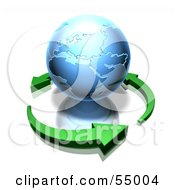 Royalty Free RF Clipart Illustration Of 3d Green Arrows Circling A Blue Earth Globe Featuring Africa And Europe