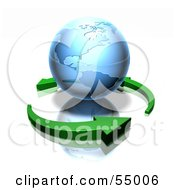 Royalty Free RF Clipart Illustration Of 3d Green Arrows Circling A Blue Earth Globe Featuring The Americas