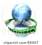 Royalty Free RF Clipart Illustration Of 3d Green Arrows Circling A Blue Earth Globe Featuring Europe And Africa