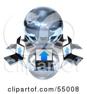 Royalty Free RF Clipart Illustration Of 3d Laptops Circling A Blue Metallic Globe