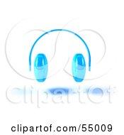 Royalty Free RF Clipart Illustration Of Blue 3d Headphones Version 3 by Julos