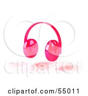 Royalty Free RF Clipart Illustration Of Pink 3d Headphones Version 2