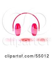 Royalty Free RF Clipart Illustration Of Pink 3d Headphones Version 1