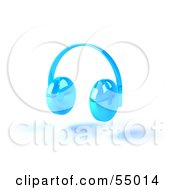 Royalty Free RF Clipart Illustration Of Blue 3d Headphones Version 4