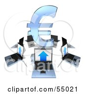 Royalty Free RF Clipart Illustration Of 3d Laptops Circling A Blue Euro Symbol