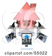 Royalty Free RF Clipart Illustration Of 3d Laptops Circling A Red Home