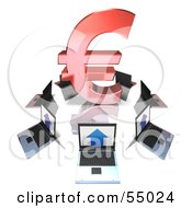 Royalty Free RF Clipart Illustration Of 3d Laptops Circling A Red Euro Symbol by Julos