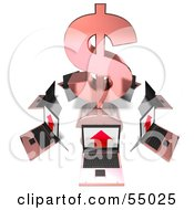 Royalty Free RF Clipart Illustration Of 3d Laptops Circling A Red Dollar Symbol by Julos