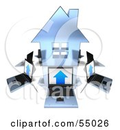 Royalty Free RF Clipart Illustration Of 3d Laptops Circling A Blue Home