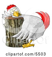 Funny Chicken On A Chopping Block Clipart Illustration