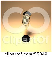 Royalty Free RF Clipart Illustration Of A 3d Golden Retro Microphone On A Counter Version 9