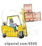 Forklift Driver Delivering Fragile Boxes Upside Down Clipart Illustration