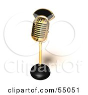 Royalty Free RF Clipart Illustration Of A 3d Golden Retro Microphone On A Counter Version 3