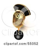 Royalty Free RF Clipart Illustration Of A 3d Golden Retro Microphone On A Counter Version 6