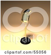 Royalty Free RF Clipart Illustration Of A 3d Golden Retro Microphone On A Counter Version 8