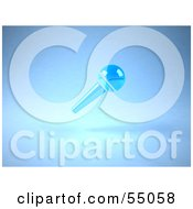 Royalty Free RF Clipart Illustration Of A 3d Blue Floating Microphone On A Handle Version 1