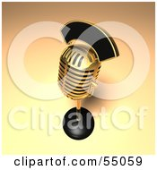 Royalty Free RF Clipart Illustration Of A 3d Golden Retro Microphone On A Counter Version 12