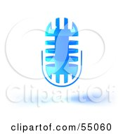 Royalty Free RF Clipart Illustration Of A 3d Blue Floating Microphone Head Version 4