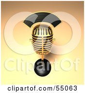 Royalty Free RF Clipart Illustration Of A 3d Golden Retro Microphone On A Counter Version 11