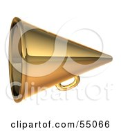 Royalty Free RF Clipart Illustration Of A 3d Golden Megaphone Version 2