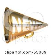 Royalty Free RF Clipart Illustration Of A 3d Golden News Megaphone Version 3