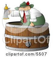 Man Serving Beer Steins From A Wooden Barrel Clipart Illustration