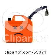Royalty Free RF Clipart Illustration Of A 3d Orange Gas Can Face Dripping Oil