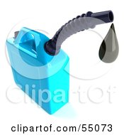 Royalty Free RF Clipart Illustration Of A 3d Blue Gas Can Dripping Oil