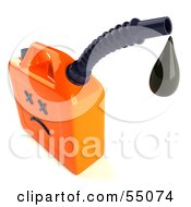 Royalty Free RF Clipart Illustration Of A 3d Orange Gas Can Face Dripping Fuel