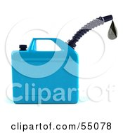 Royalty Free RF Clipart Illustration Of A 3d Blue Gas Can Dripping Fuel