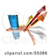 Royalty Free RF Clipart Illustration Of A 3d Blue Barrel Of Oil On Three Descending Arrows Version 1 by Julos