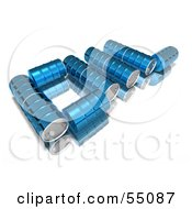 Poster, Art Print Of Blue 3d Barrels Spelling The Word Oil - Version 1
